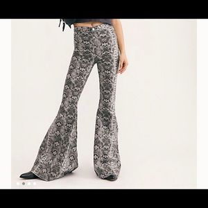 Free people snakeskin flare jeans